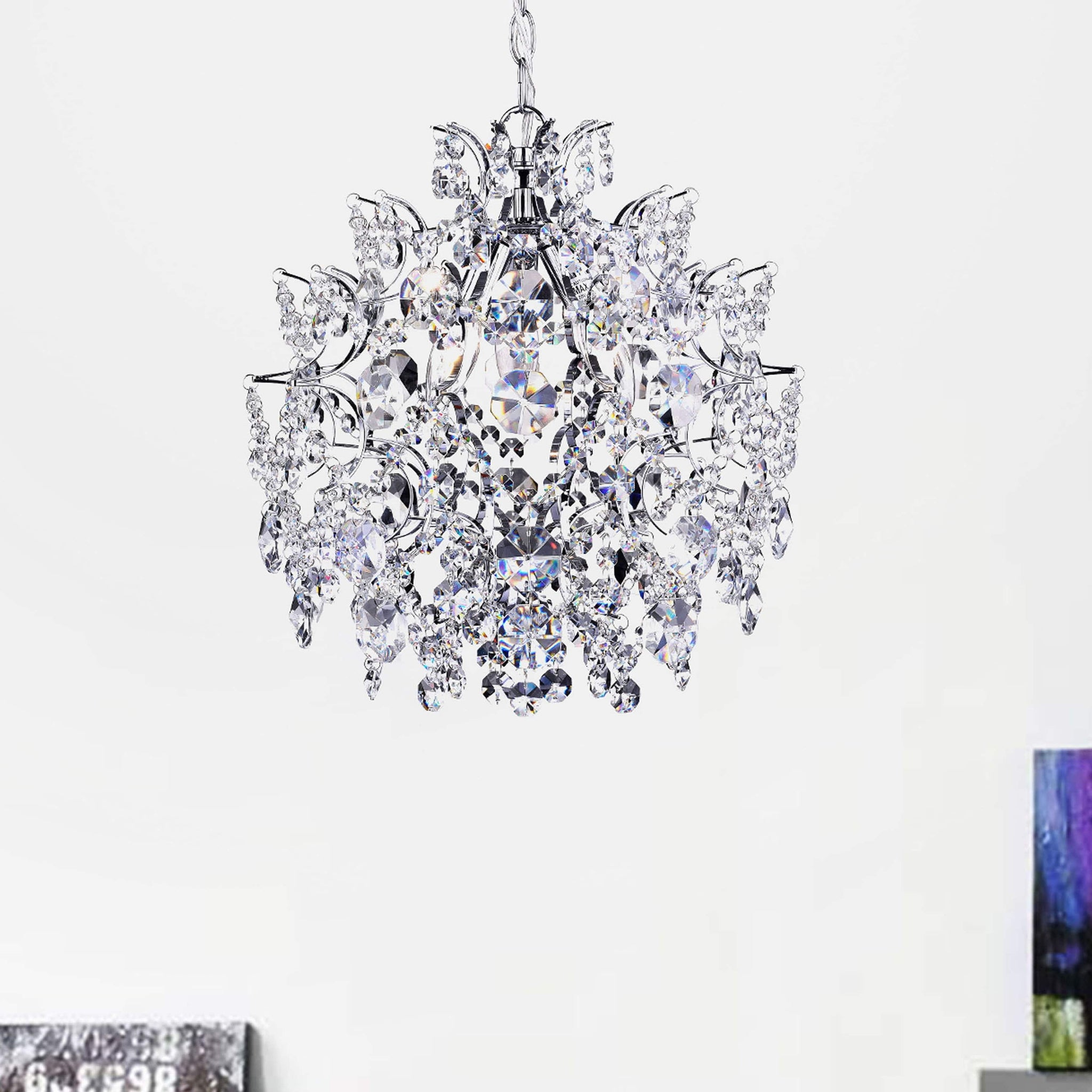 Elegant Indoor Three-Light Chrome/ Crystal Chandelier