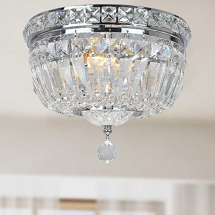 Chrome and Crystal Flushmount Chandelier