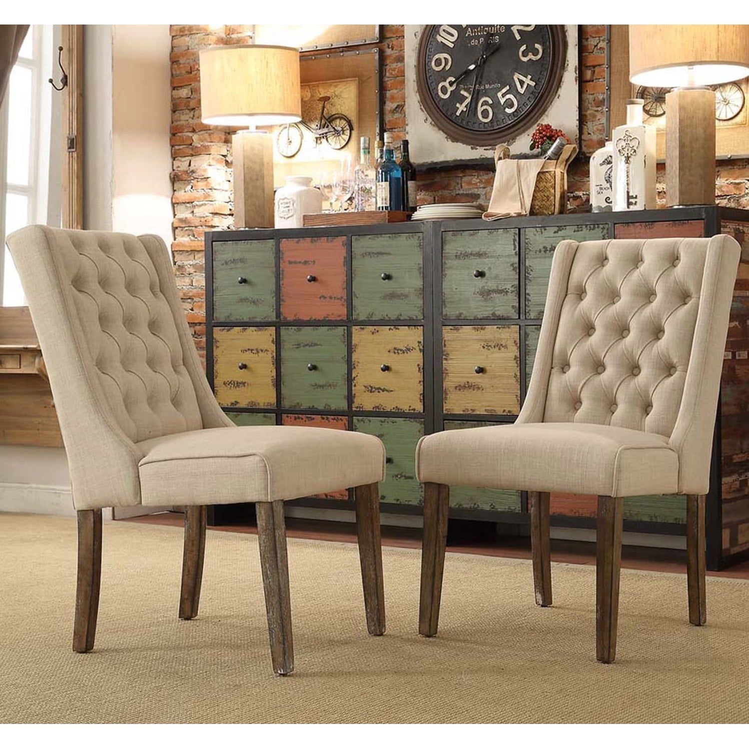 Tufted Wingback Hostess Chairs
