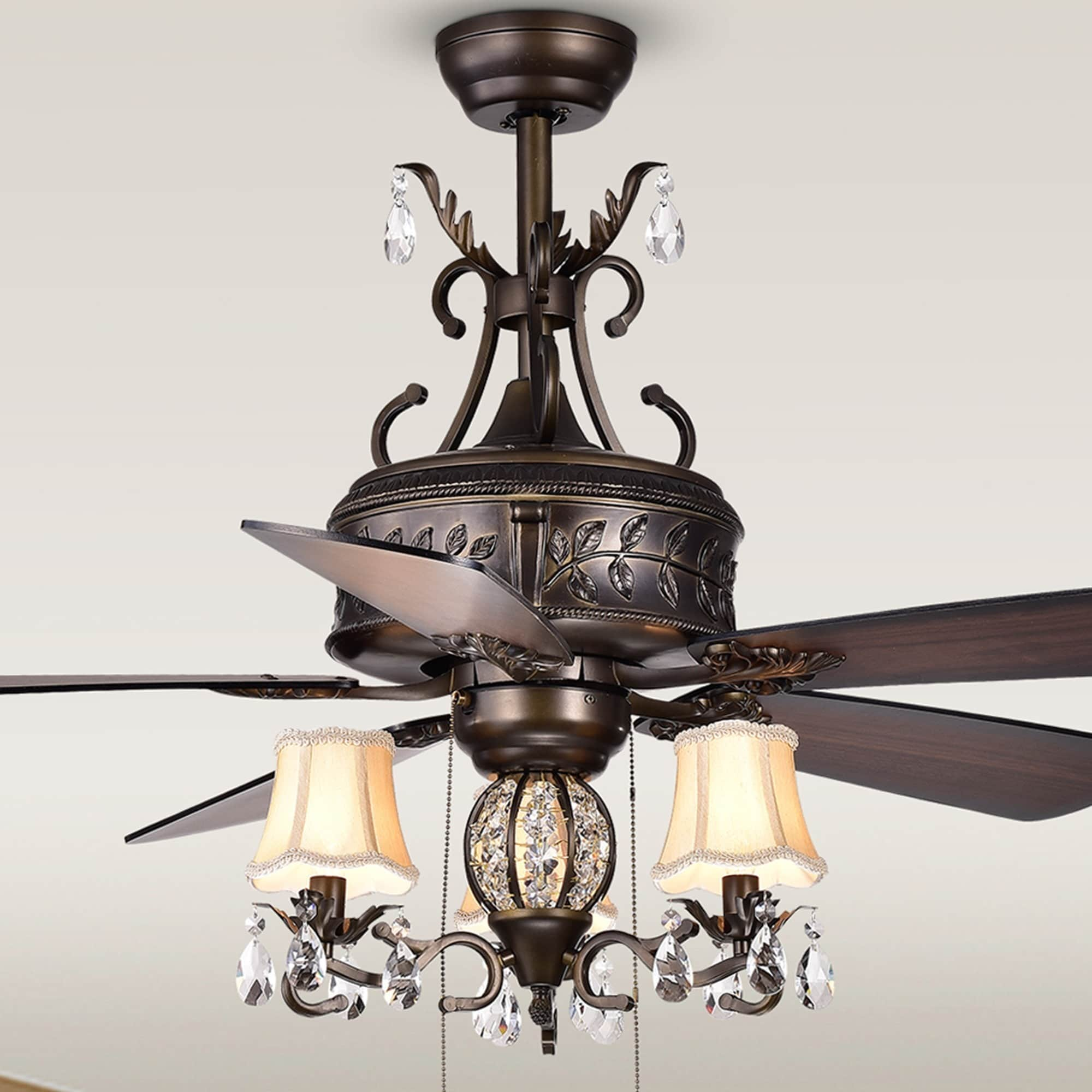 52-Inch Five-Blade Antique Lighted Ceiling Fans with Branched French Chandelier