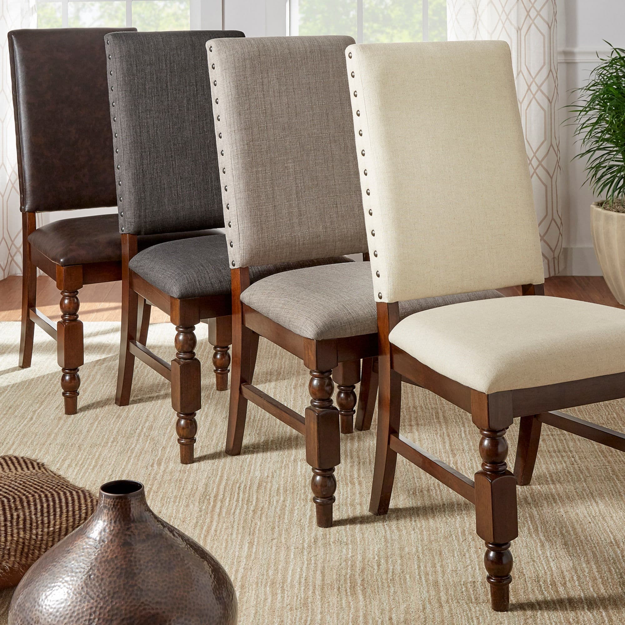 Flatiron Nailhead Upholstered Dining Chairs