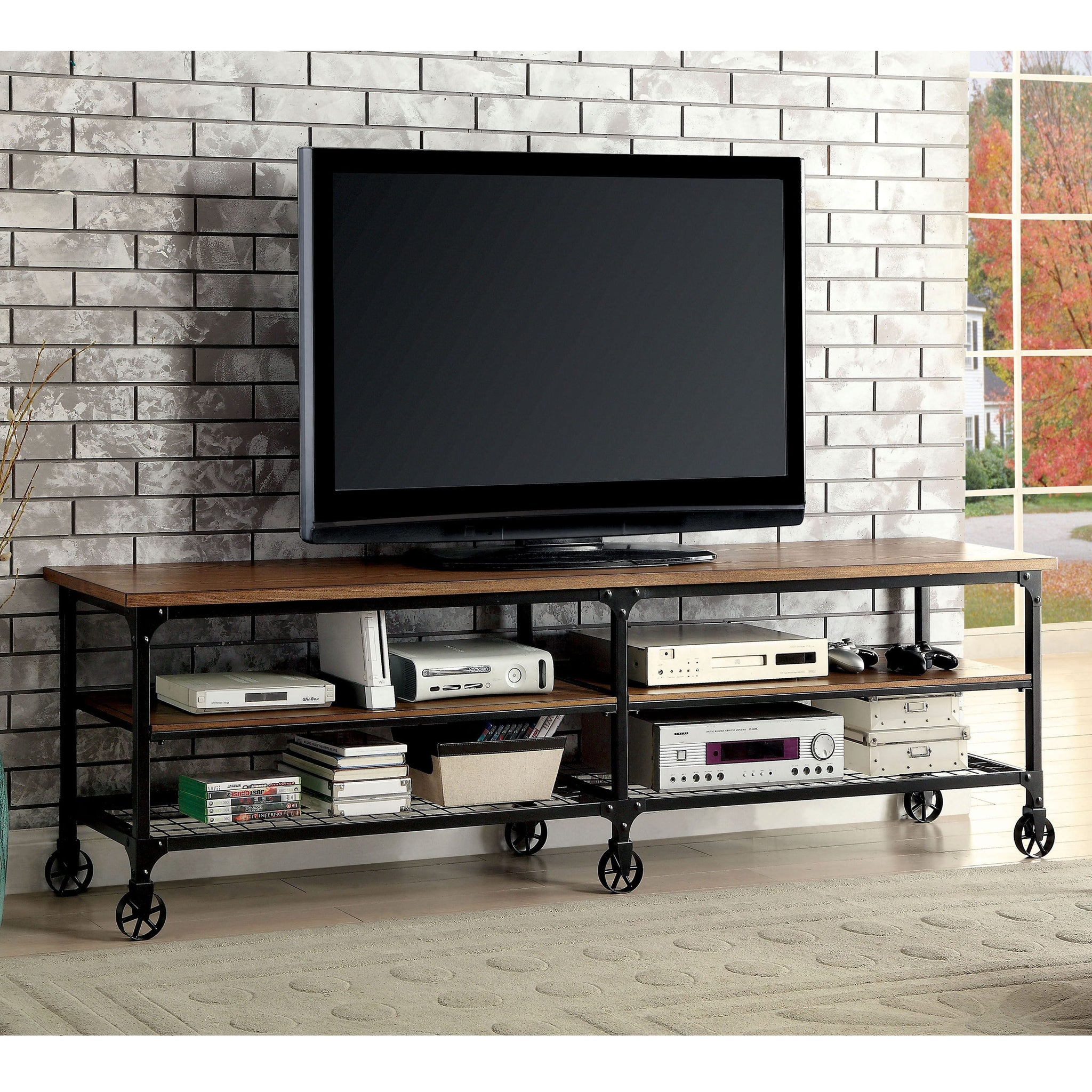 Industrial Medium Oak TV Stand