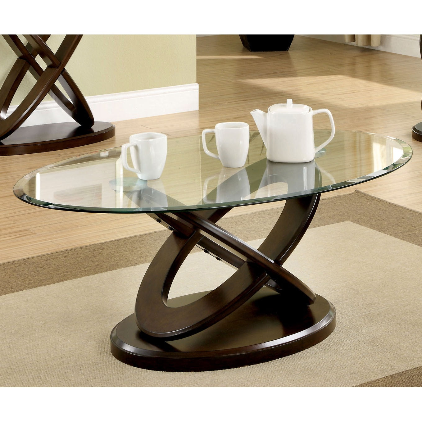 Oval Glass-Top Coffee Table