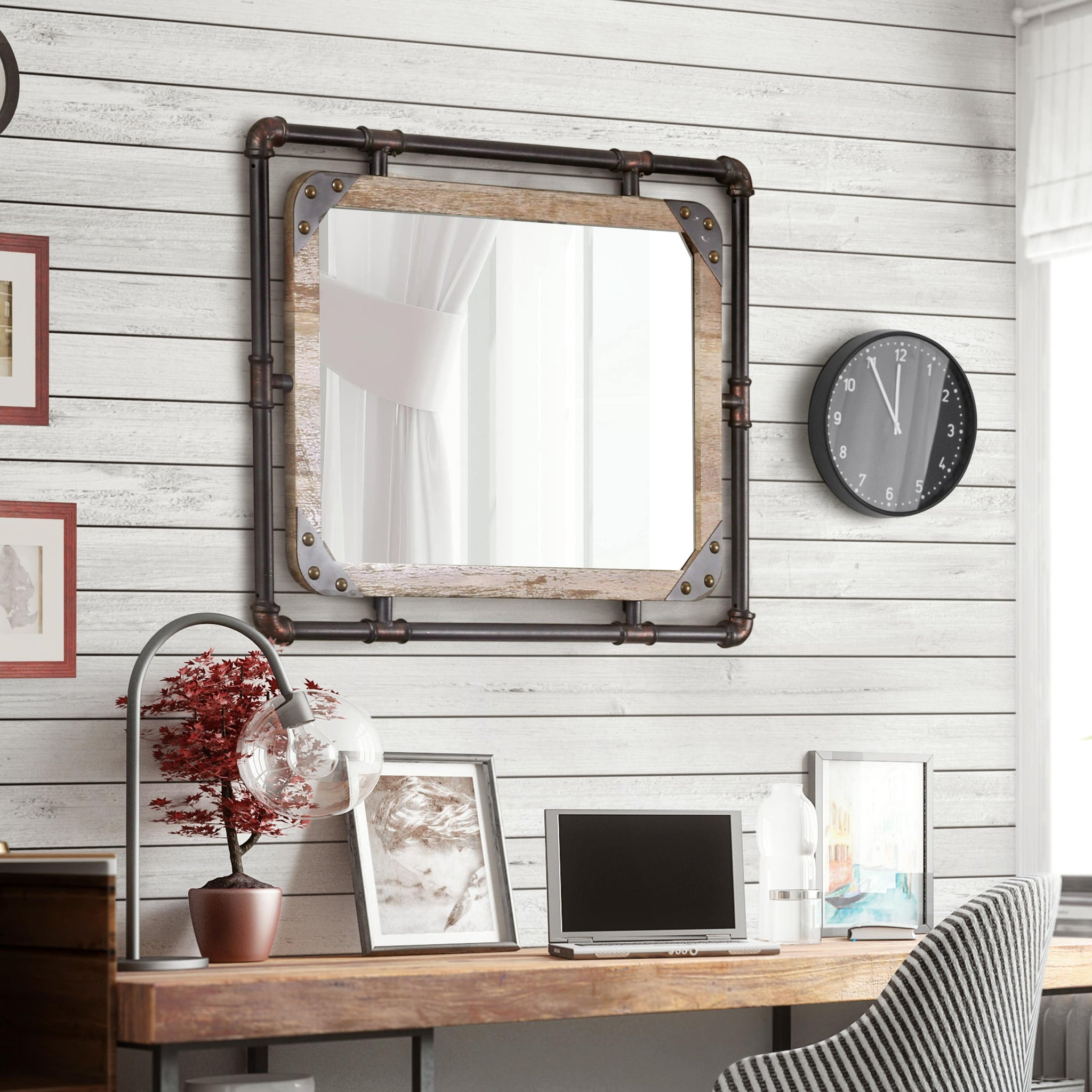 Industrial Antique Black Framed Wall Mirror