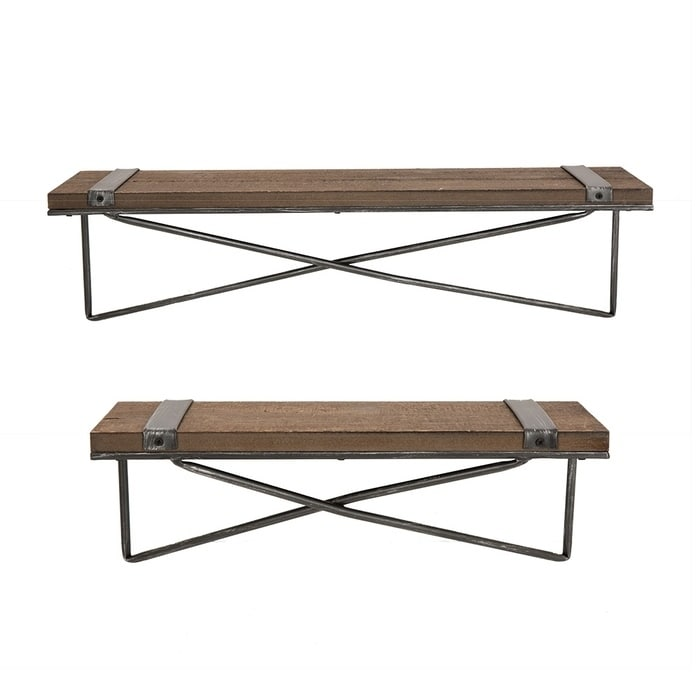 Metal/Wooden Wall Shelf (Set of 2)