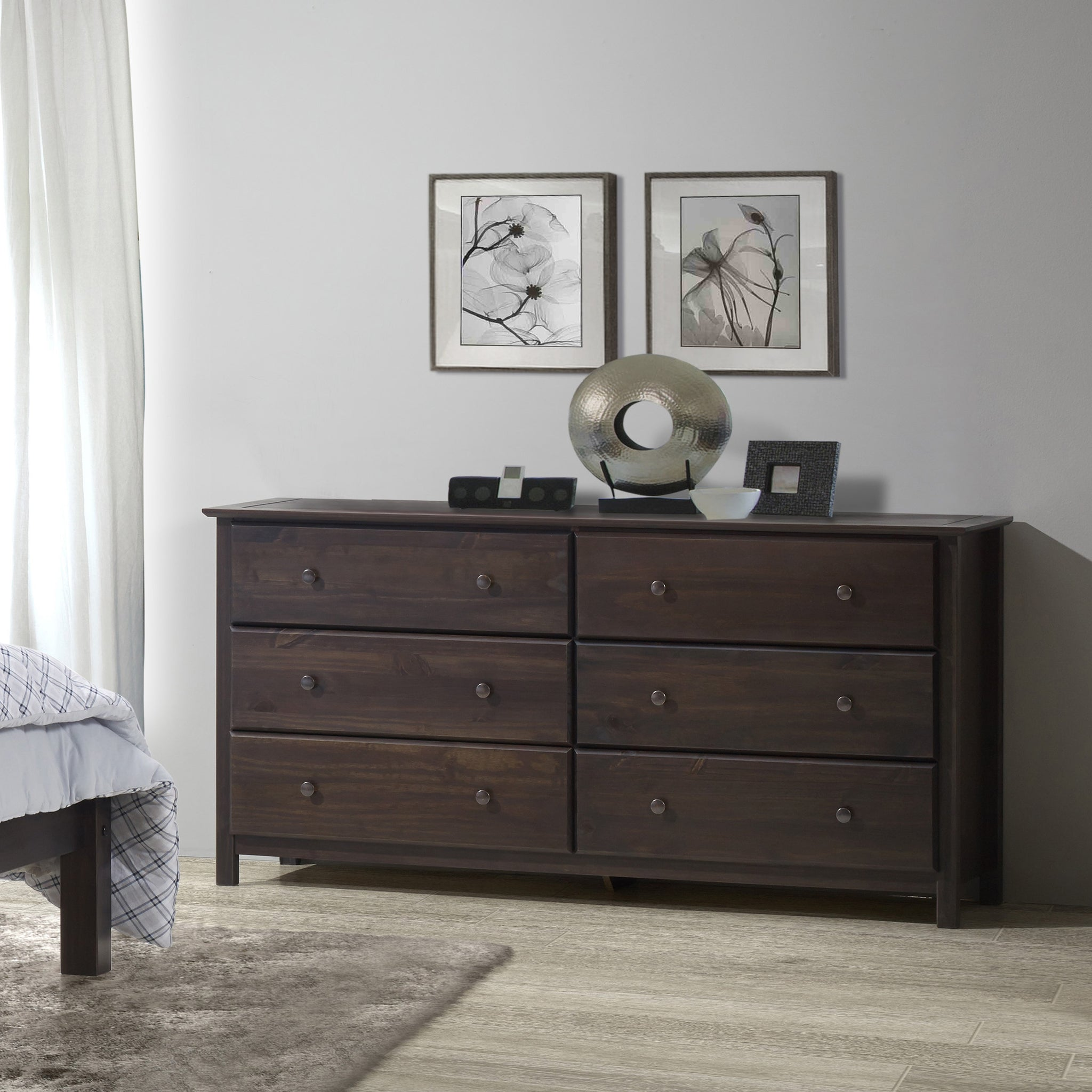 Pine Wood Shaker-style Six-drawer Dresser