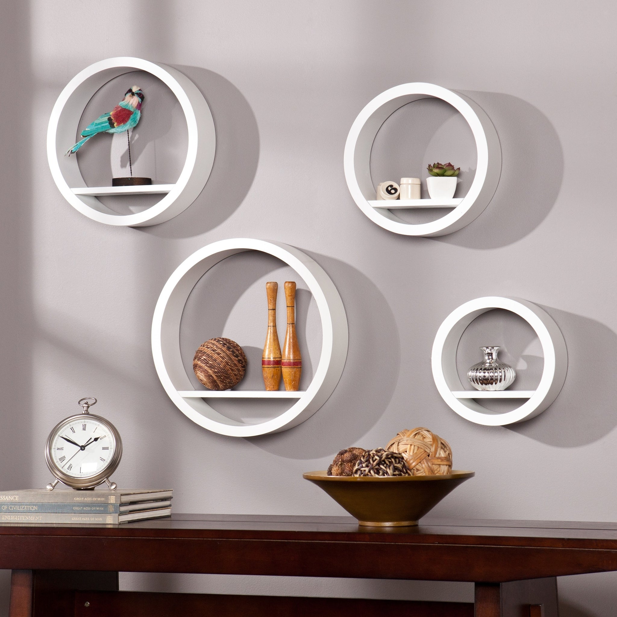 White Four-Piece Circular Shelf Set