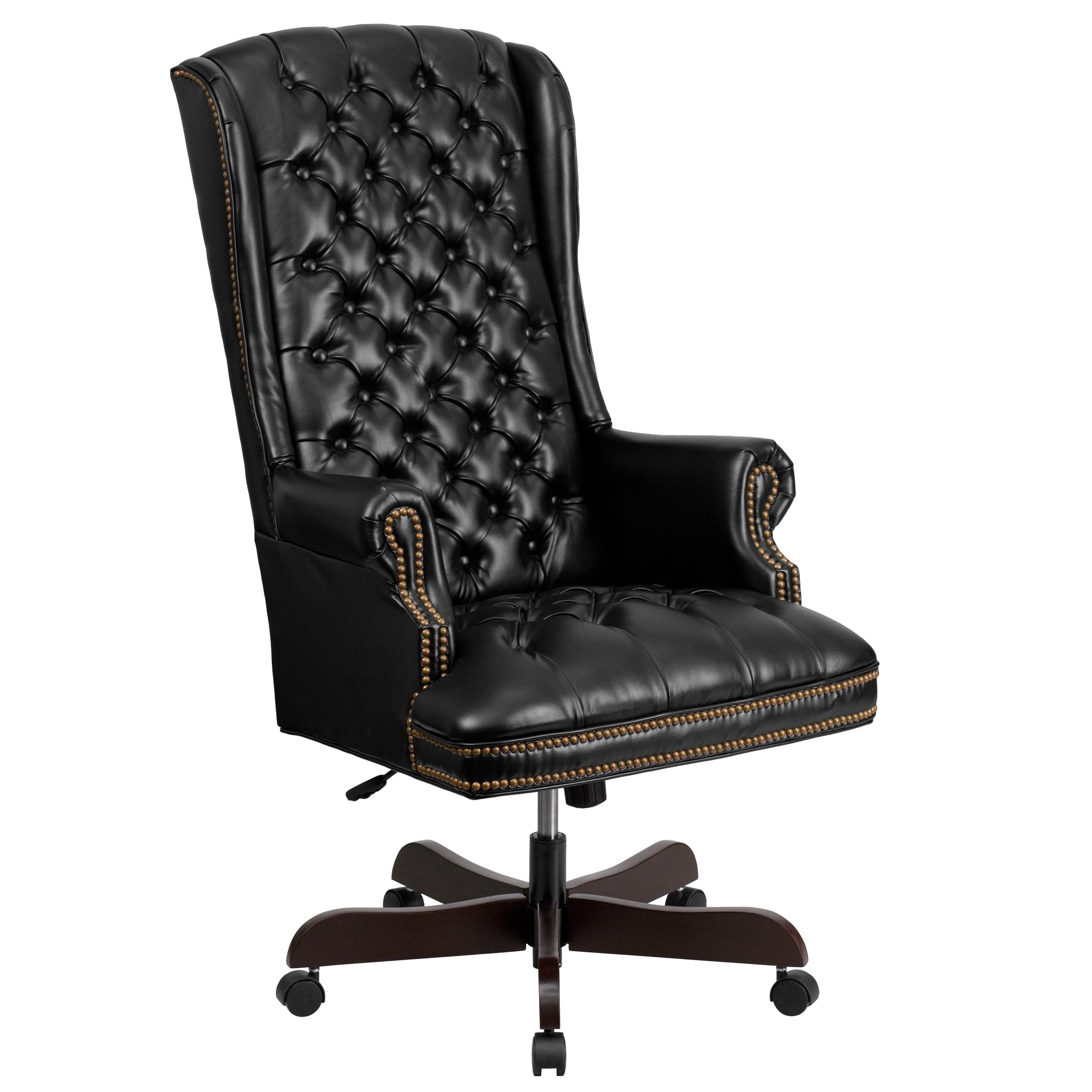 High-Back Traditionally Tufted Leather Executive Office Chair