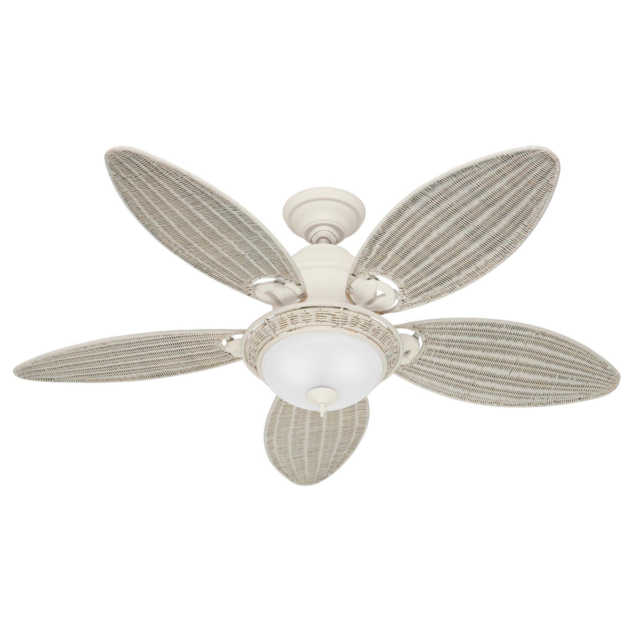 54-Inch Ceiling Fan with Textured White Finish and Five Cream Wicker Blades