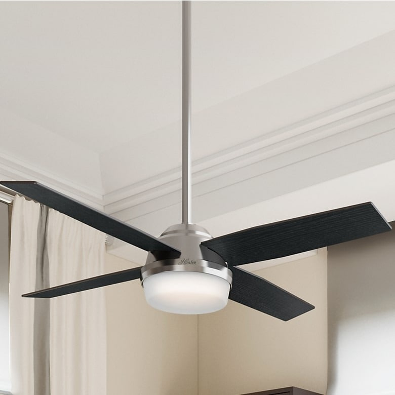 52-Inch Brushed Nickel Ceiling Fan with Four Black Oak or Chocolate Oak Reversible Blades