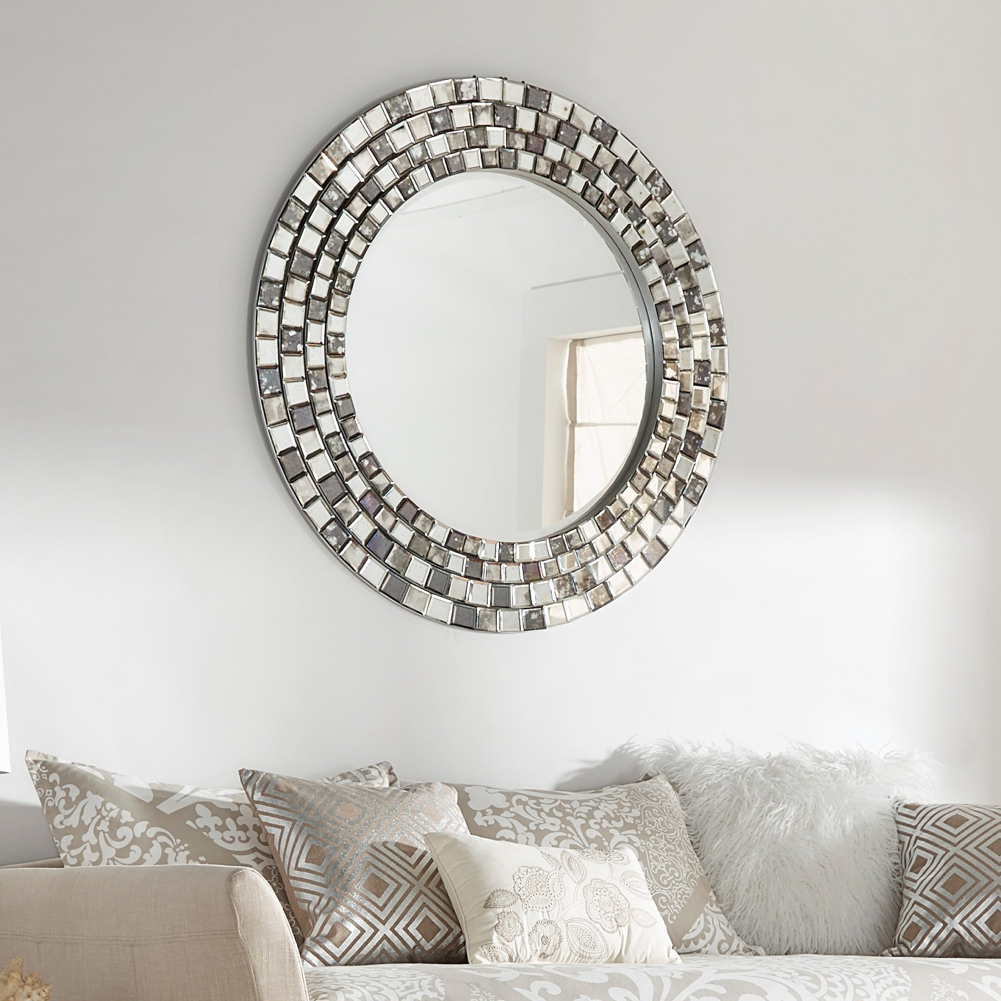 Frosted Tile Silver Finish Round Accent Wall Mirror Handy