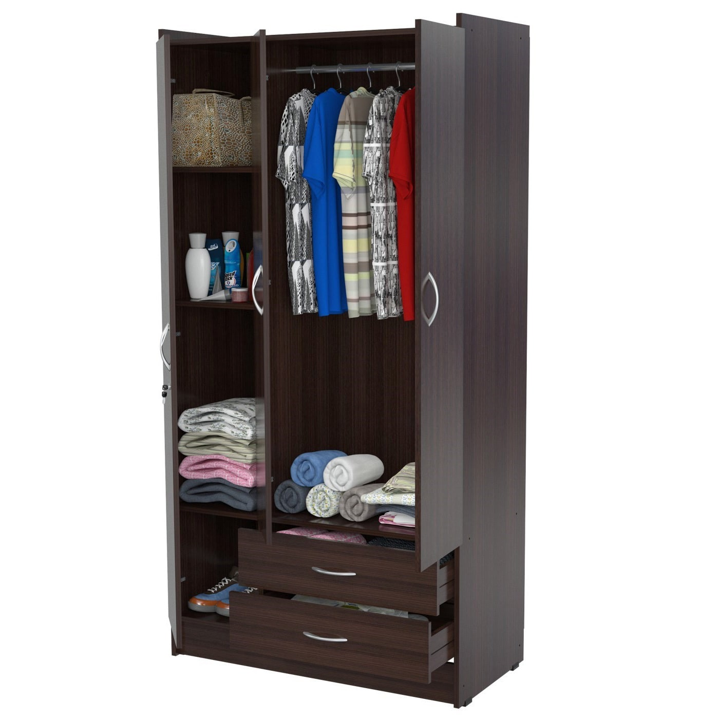 Three-door Espresso Armoire