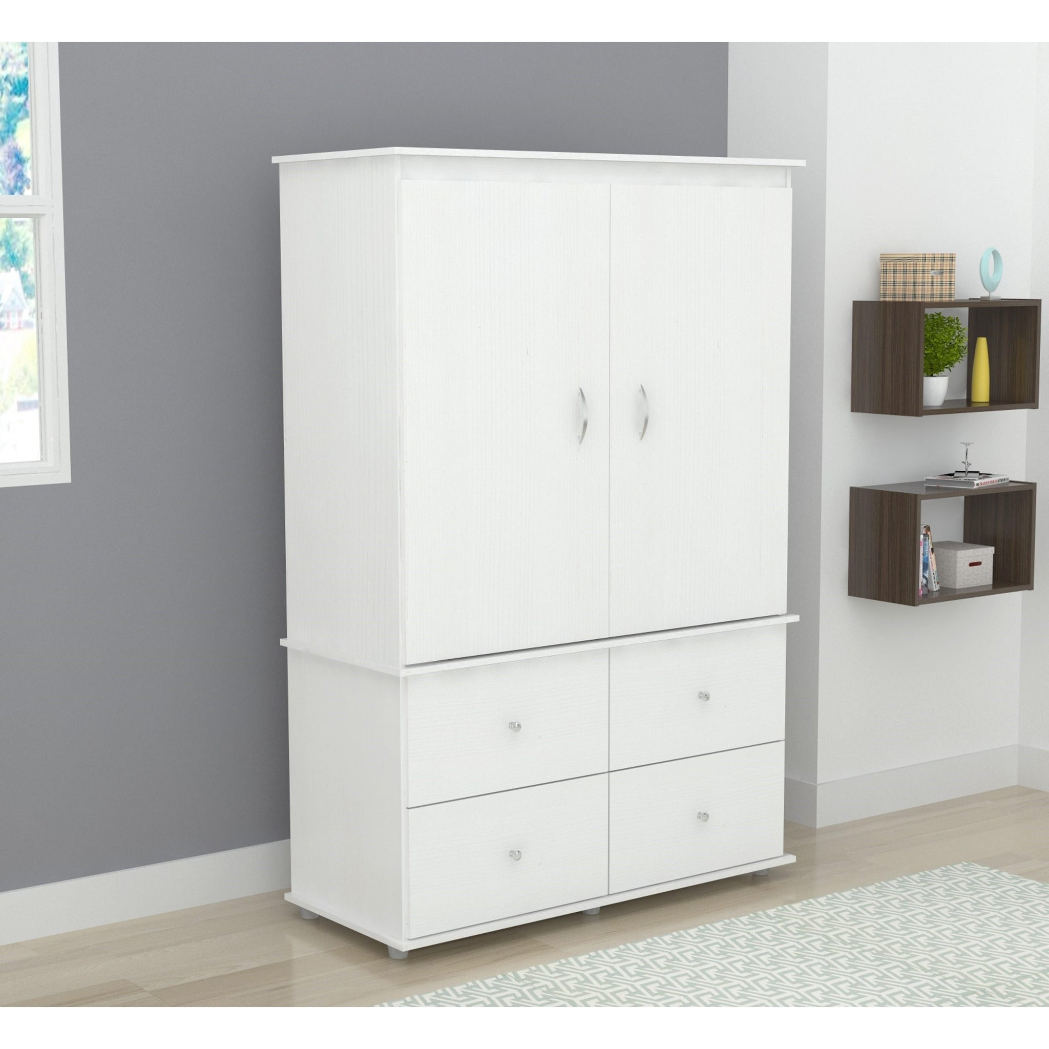 White Audio Video Armoire Cabinet