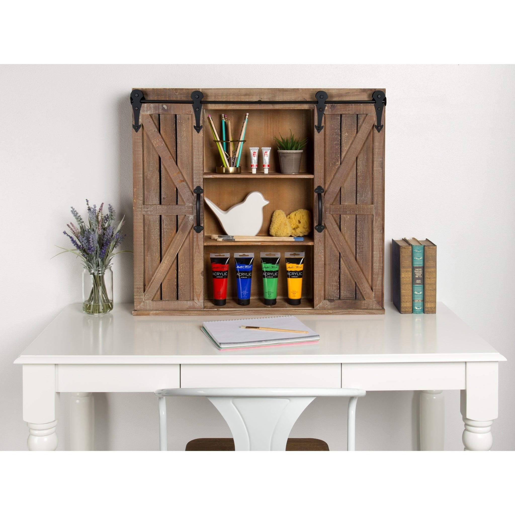 Brown Wood Rustic Wall Storage Cabinet With Sliding Barn Doors Handy