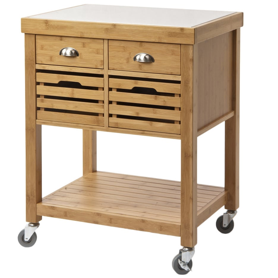 Stainless Steel Top Bamboo Kitchen Cart