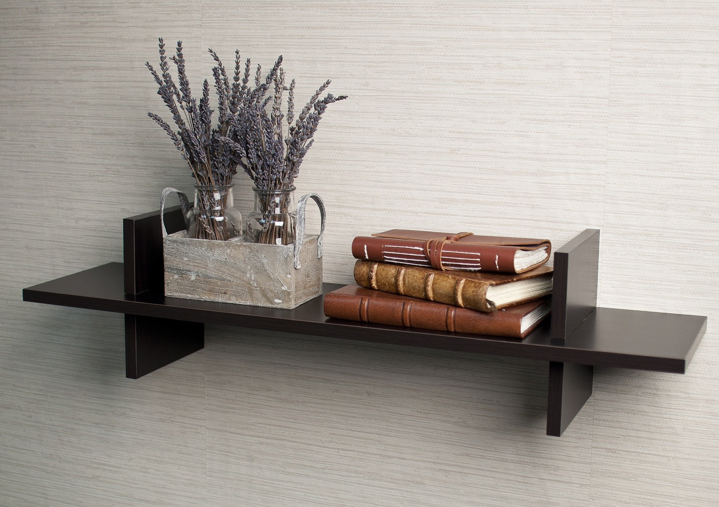 Laminated Espresso 'H' Shaped Wall Shelf