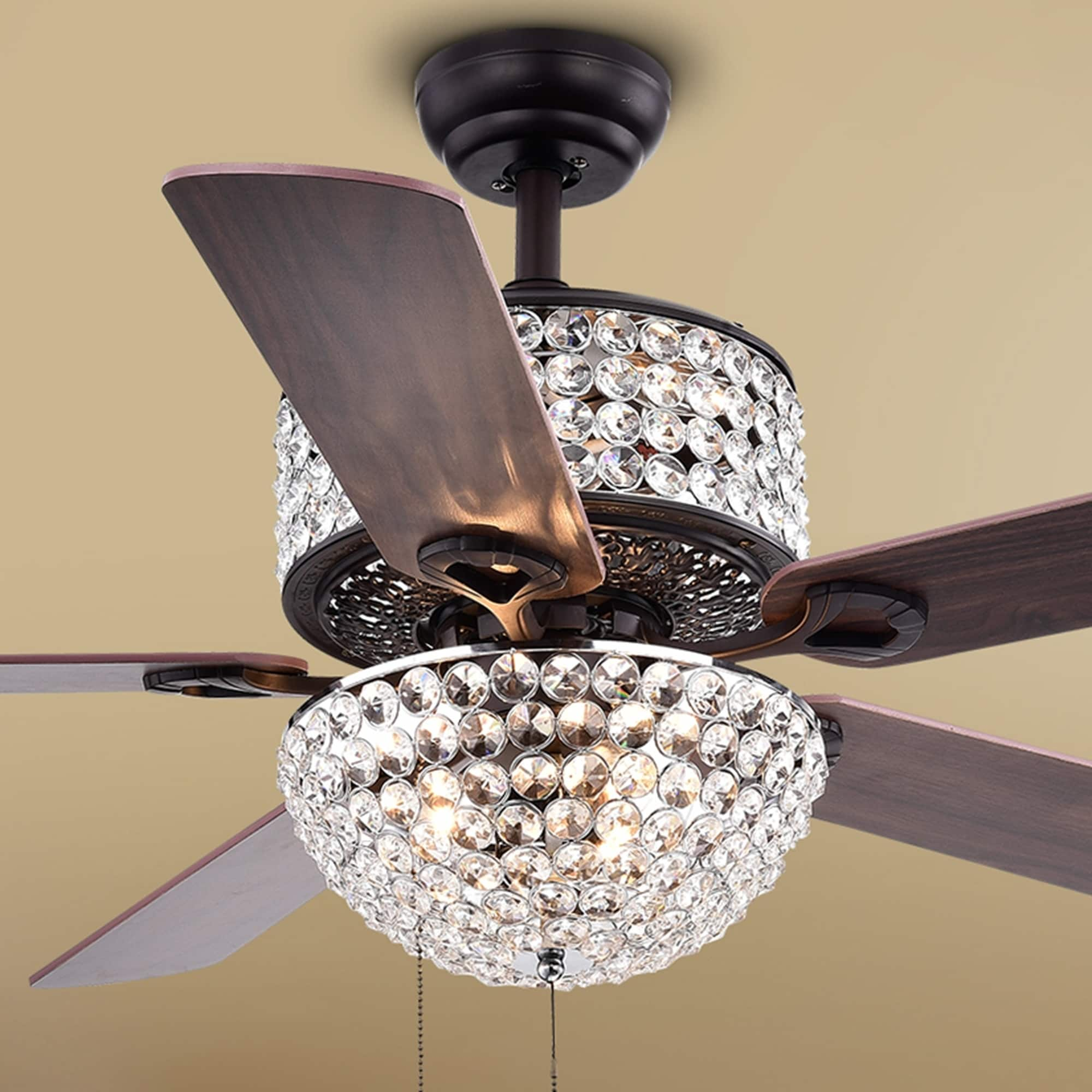 Six-Light Crystal Five-Blade 52-Inch Ceiling Fan