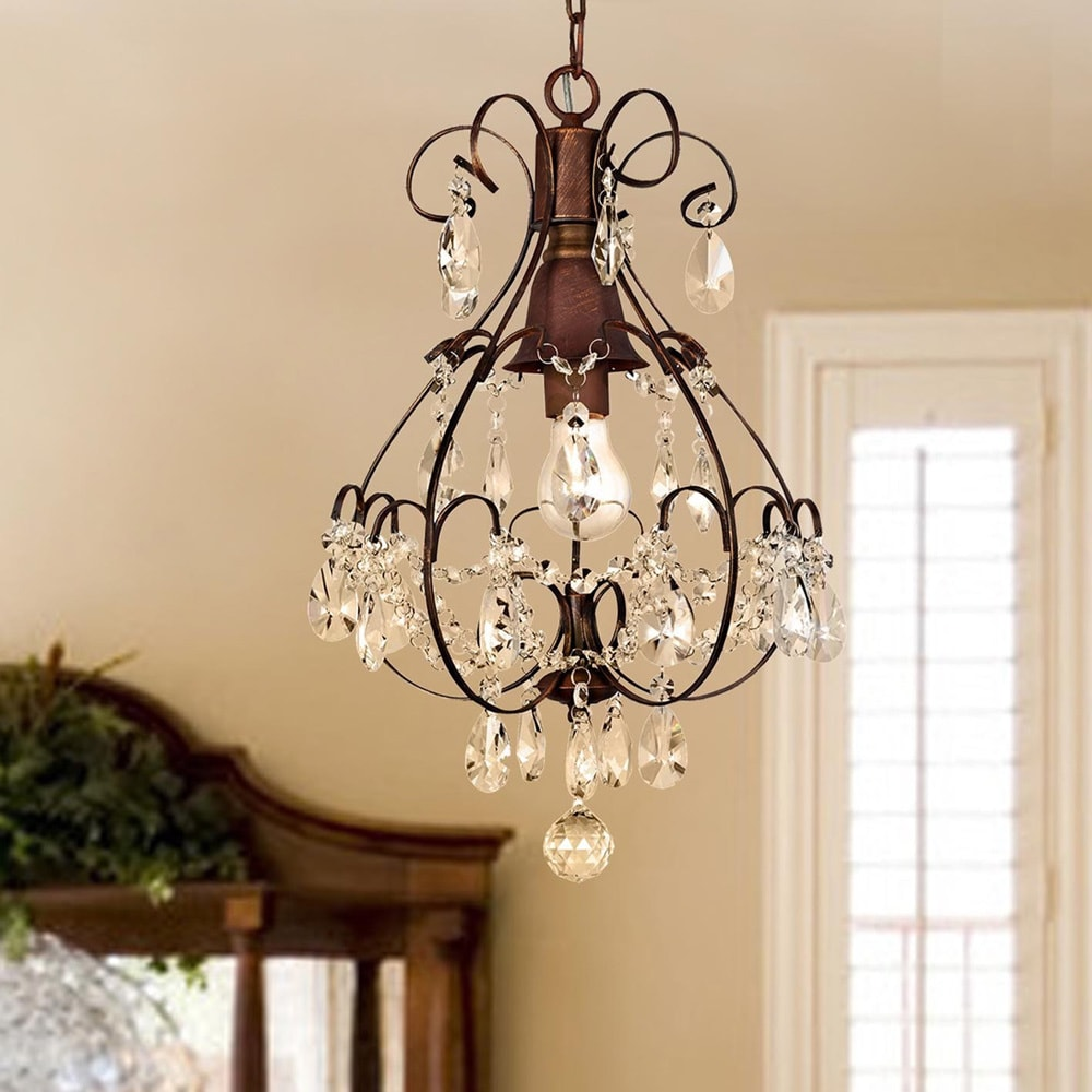 Brushed Oak One-Light Teardrop Crystal Chandelier