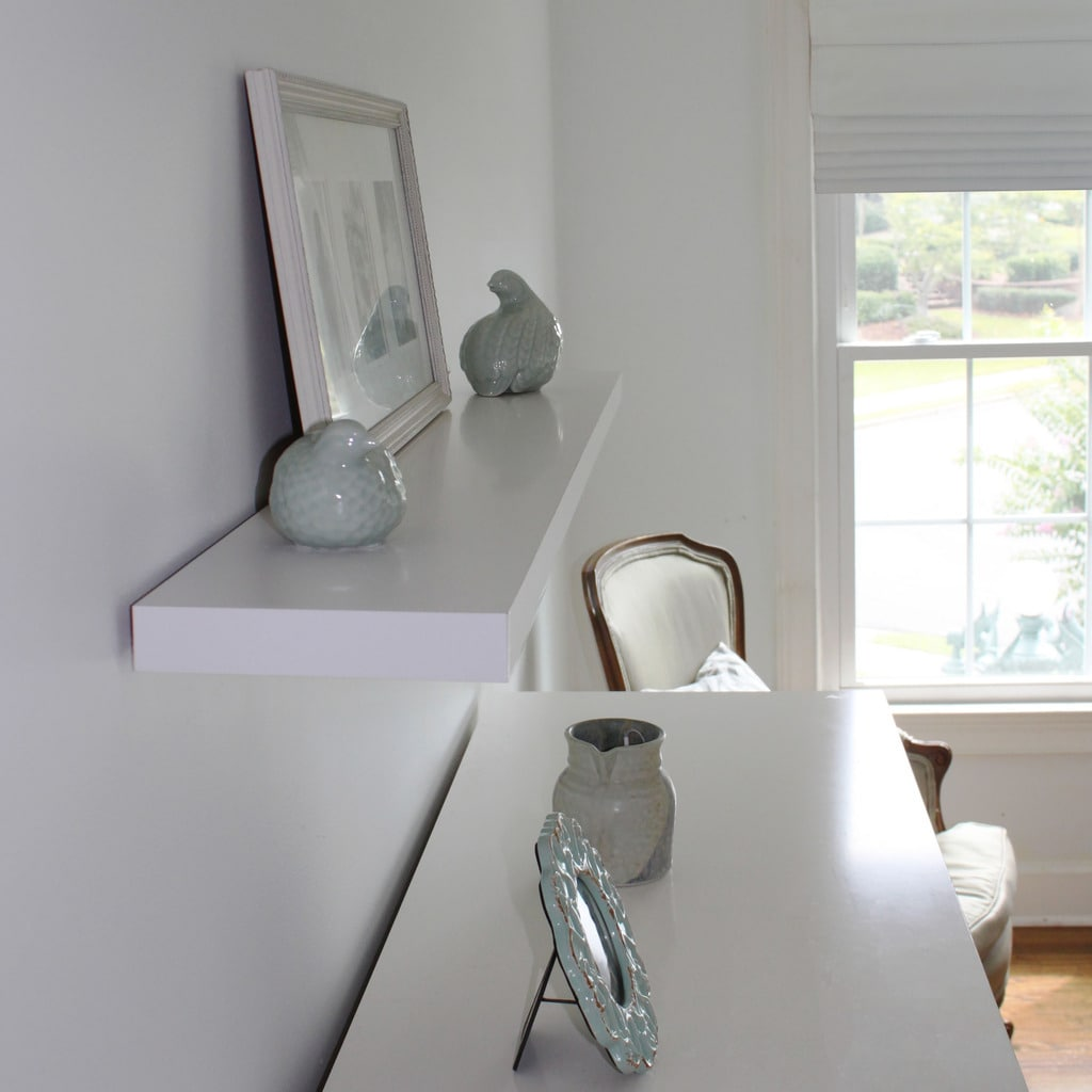 White Floating Wall Shelf 23.6 Inches Wide