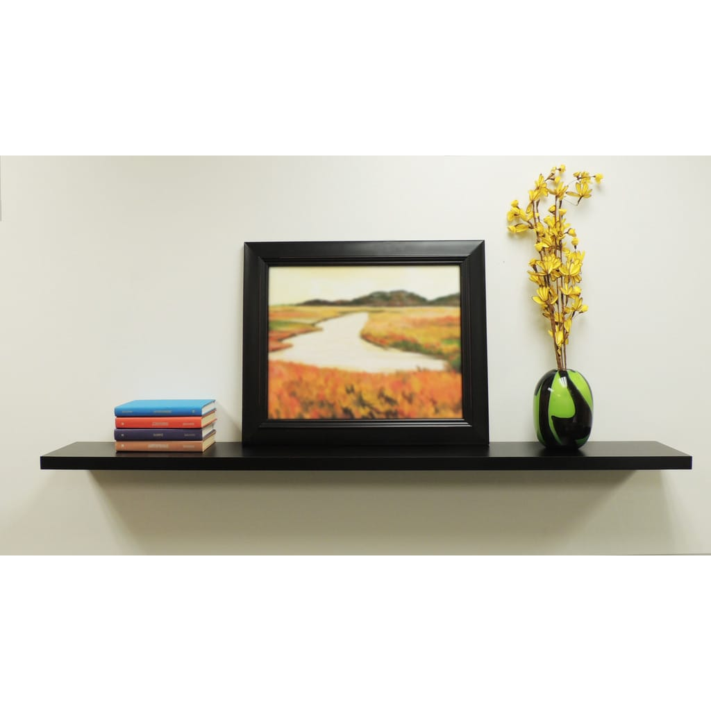 Black 48-inch Wall-Mounted Floating Shelf