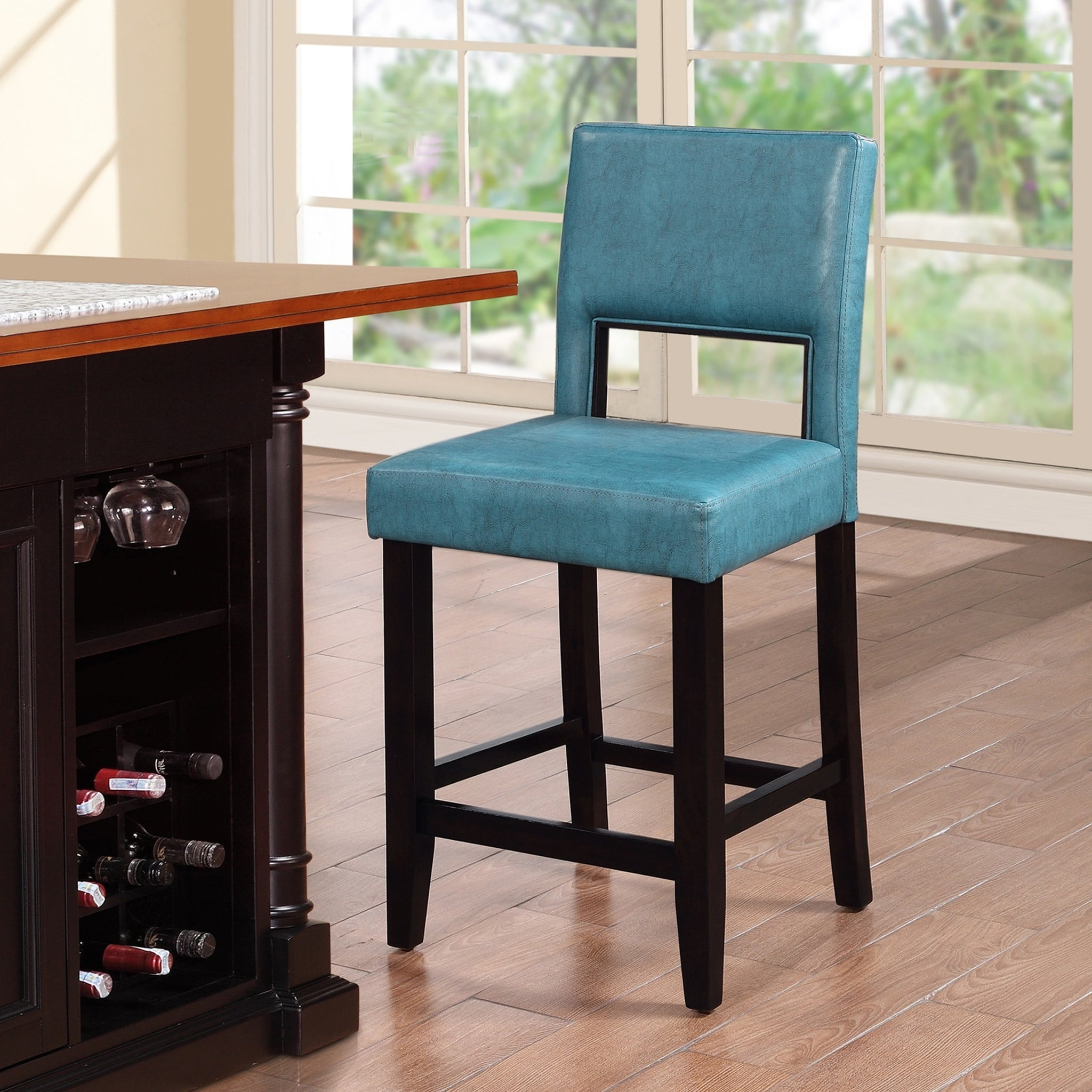 Ocean Blue Fabric Stationary Counter Stool