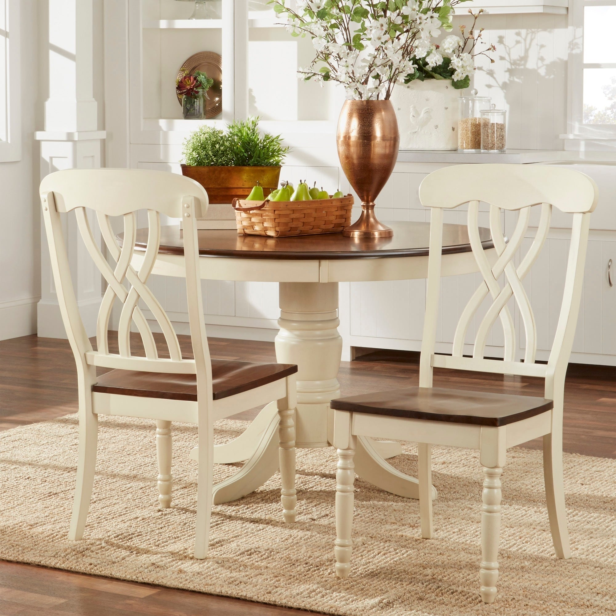 Country Style Two Tone Dining Chairs