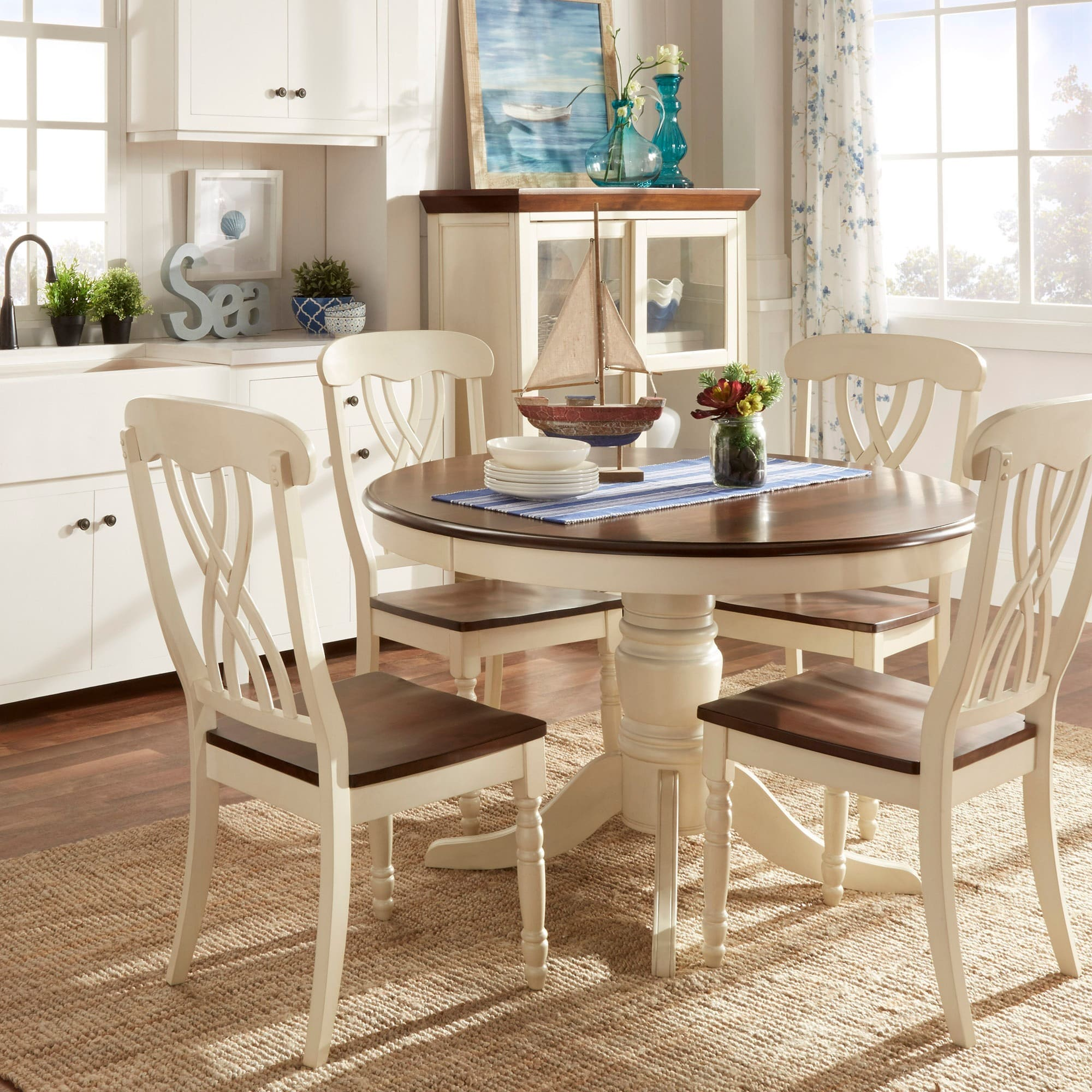 Country Style Two-Tone Round Scroll Back Dining Set