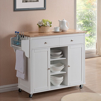 Nixonton White Modern Kitchen Island Cart