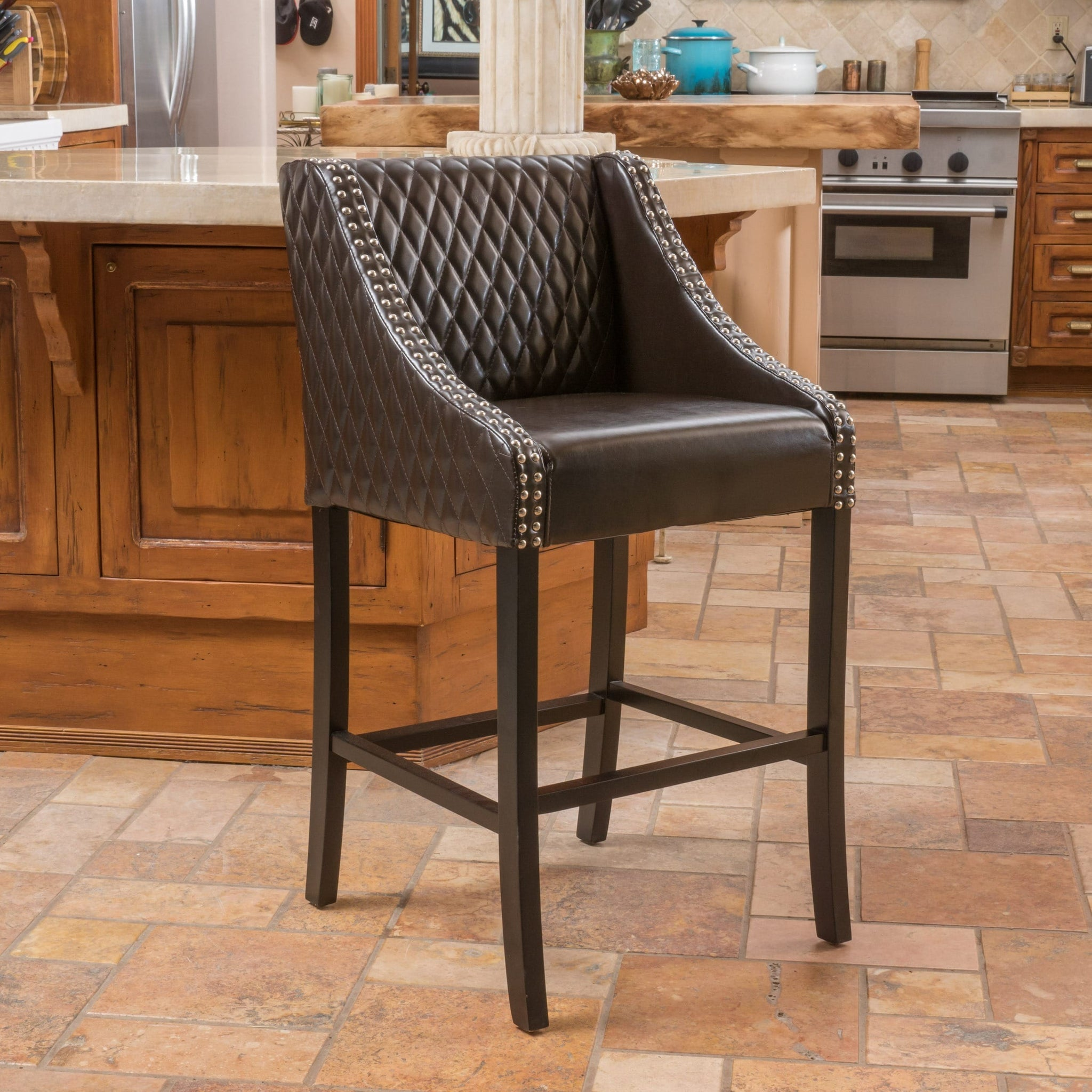 28-inch Brown Quilted Bonded Leather Barstool