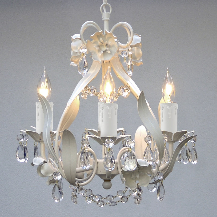 White Floral Crystal 4-Light Mini Chandelier