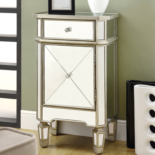 Mirrored One-Drawer Accent Cabinet