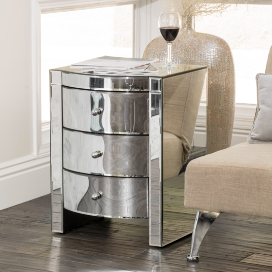 Mirrored Three-Drawer Side Table