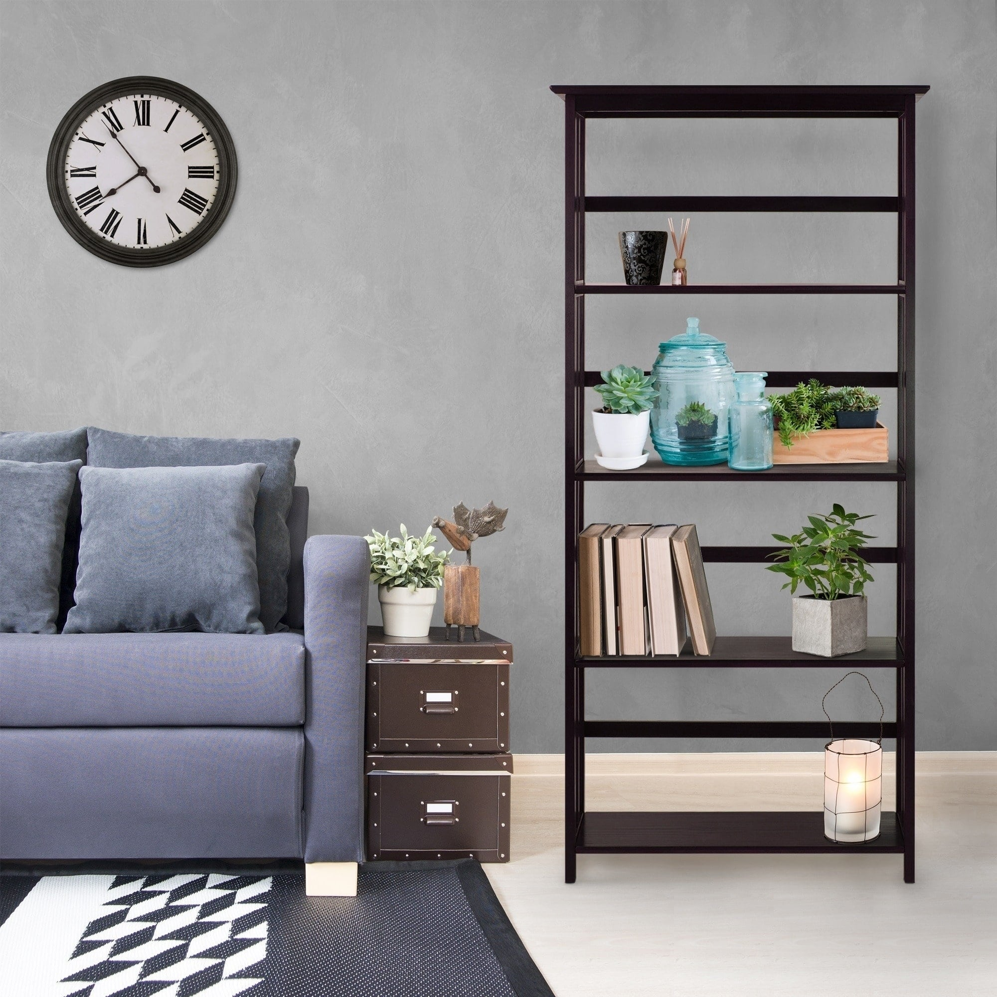 Solid Wood Five-shelf Bookcase