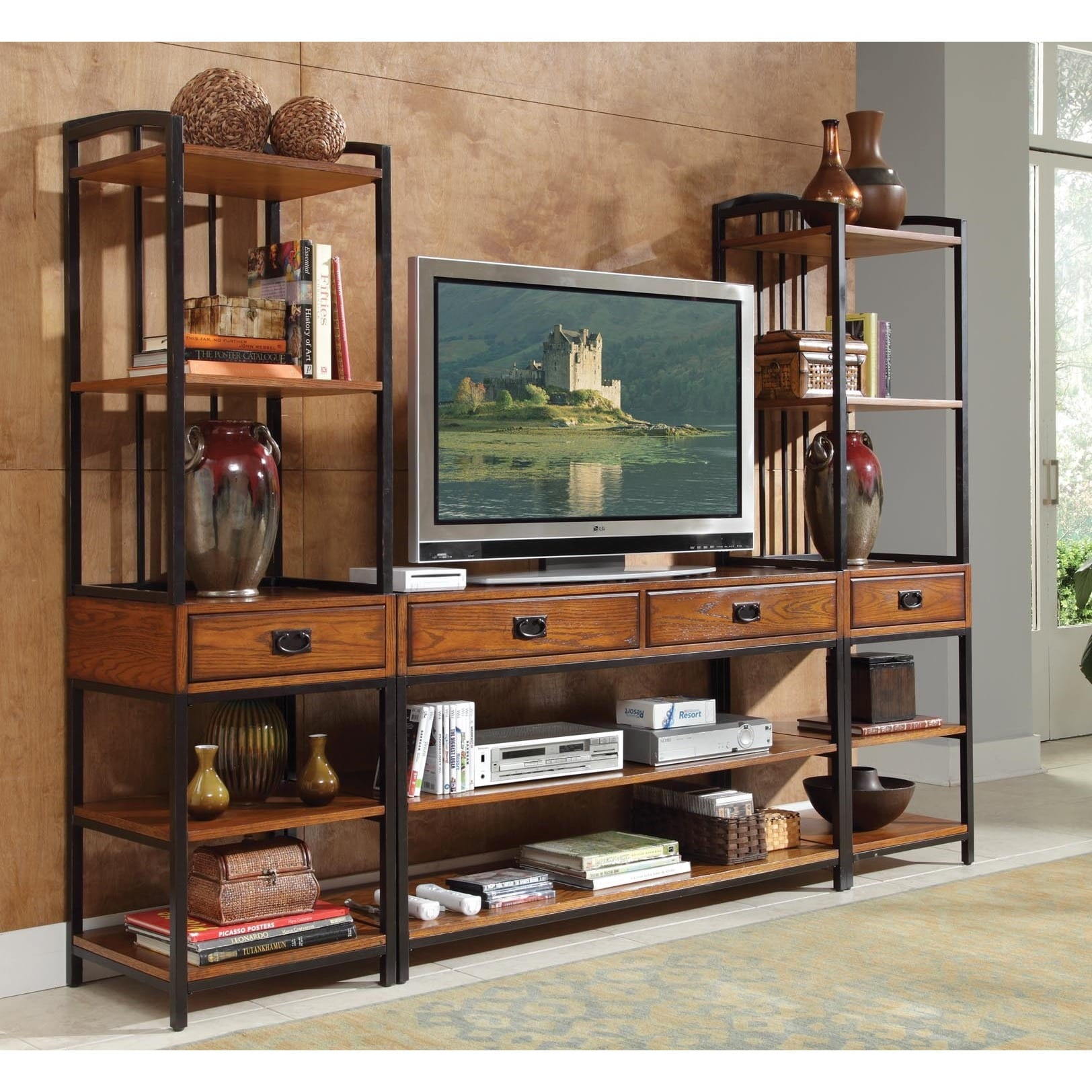 Distressed Oak 3-piece Media Center