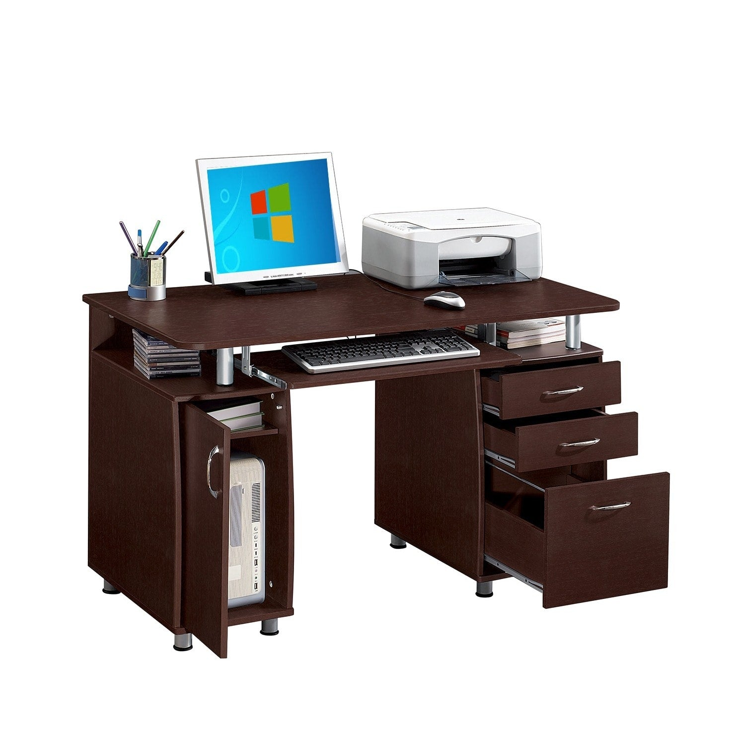 Multifunctional Office Desk with File Cabinet