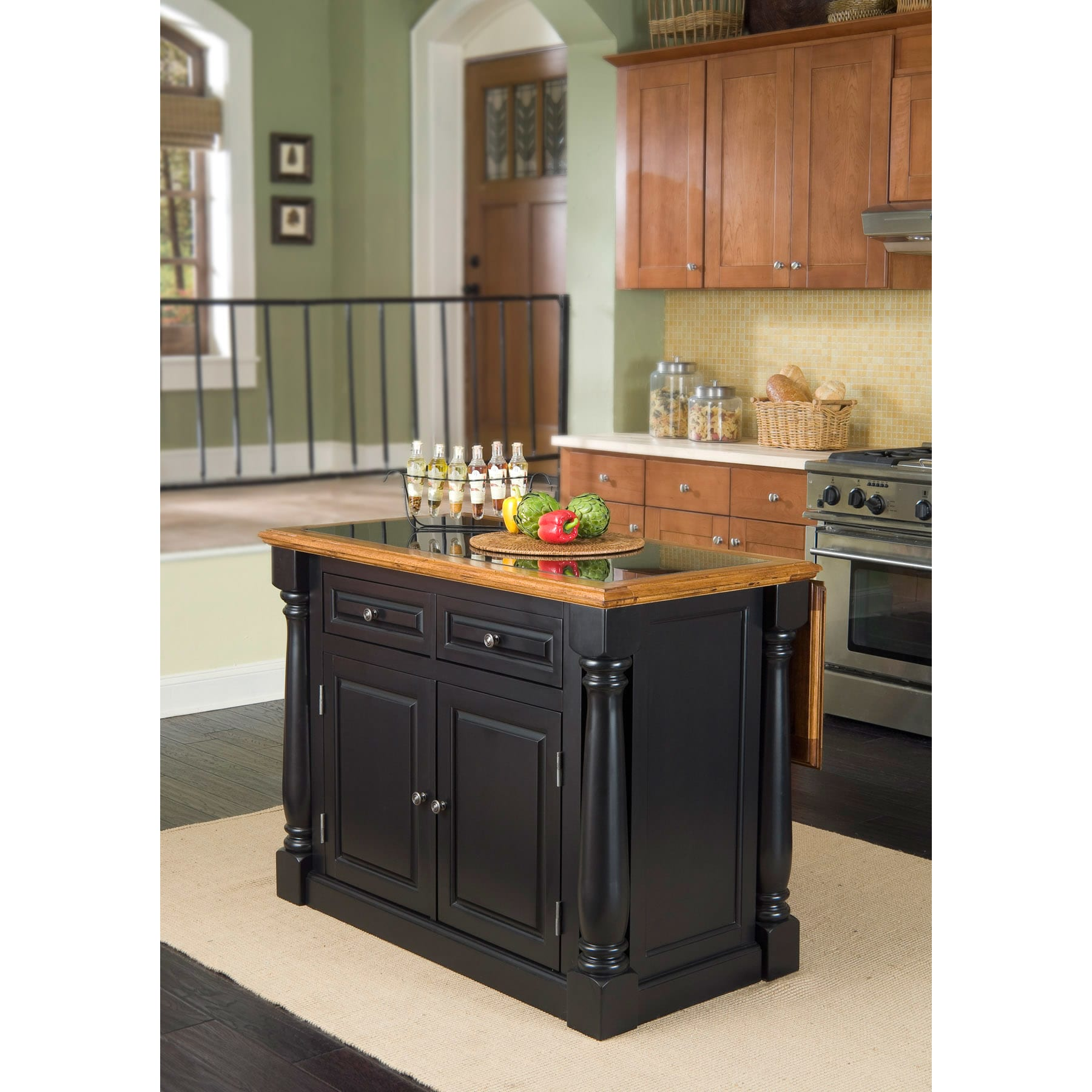 Distressed Oak and Granite Top Black Wooden Kitchen Island