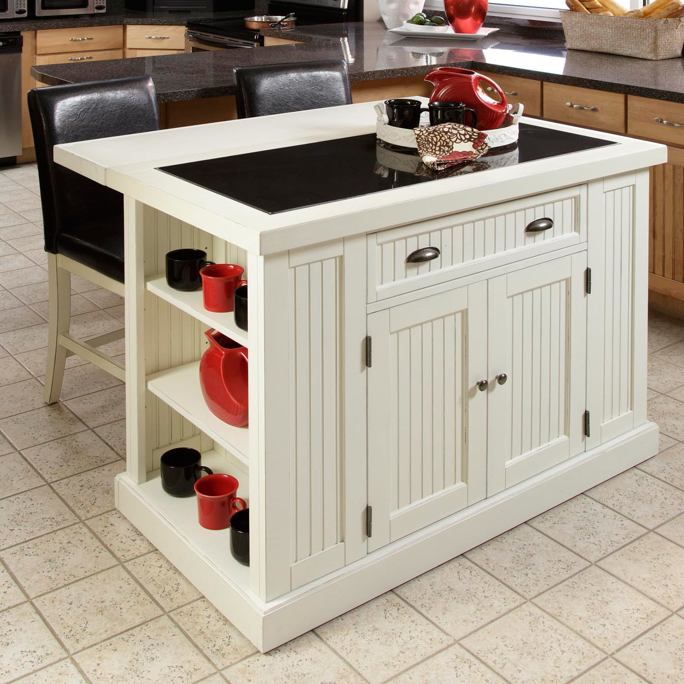 Distressed White Board Kitchen Island with Drop-leaf Breakfast Bar
