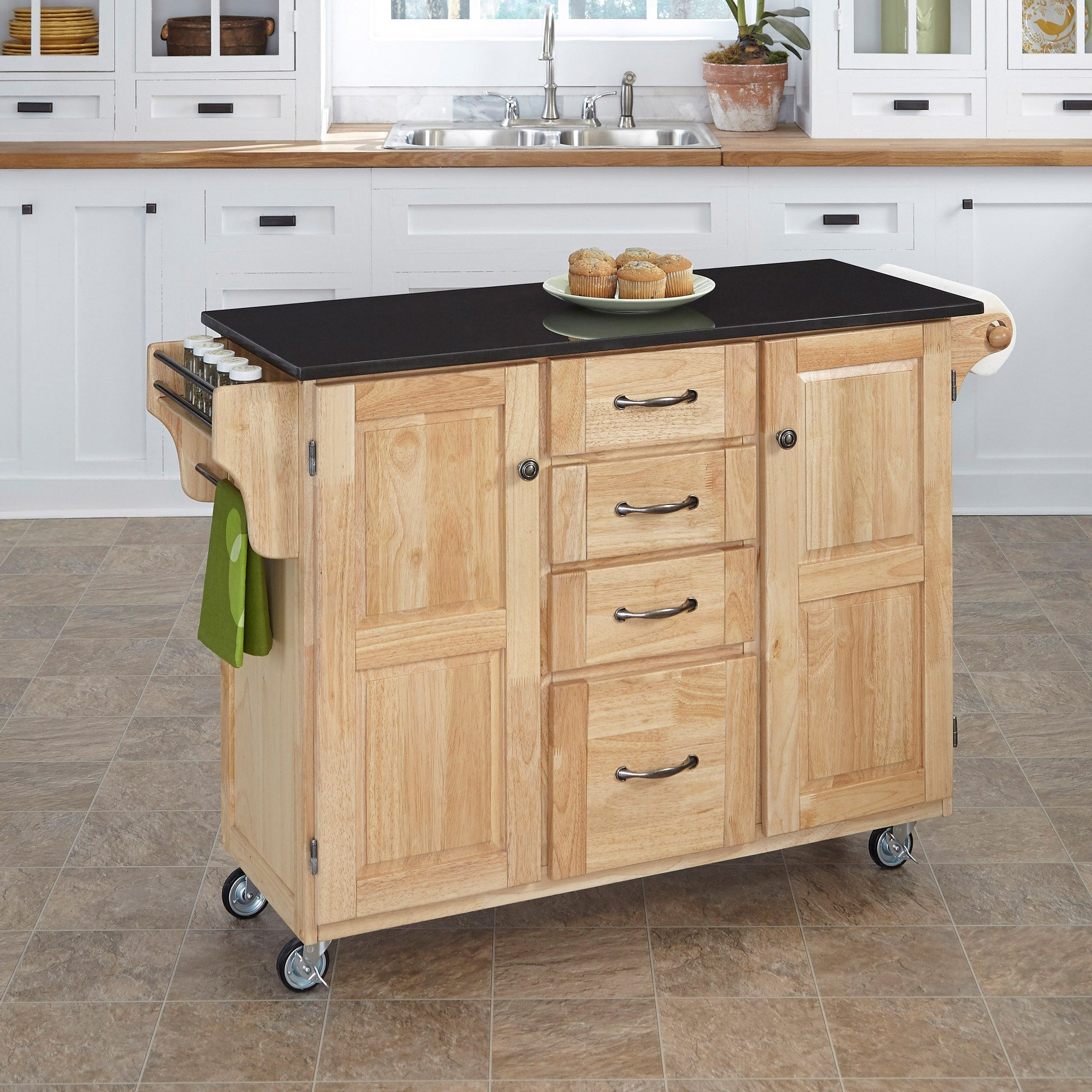 Natural Finish Black Granite Top Kitchen Cart
