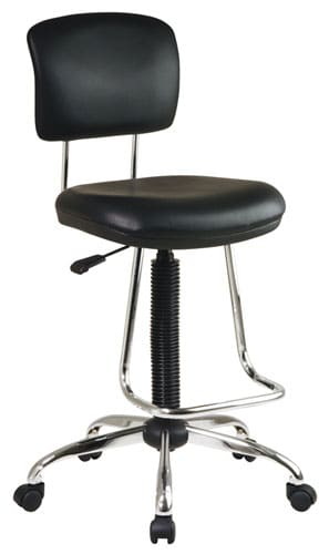 Chrome and Black Vinyl Drafting Chair