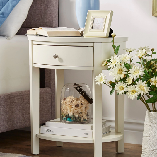 One-drawer Oval Wood Shelf Accent End Table