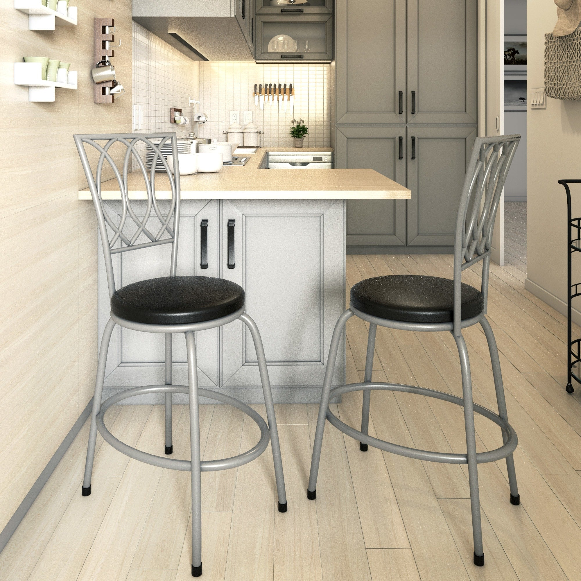 Counter Height Adjustable Metal Powder-coated Bar Stool