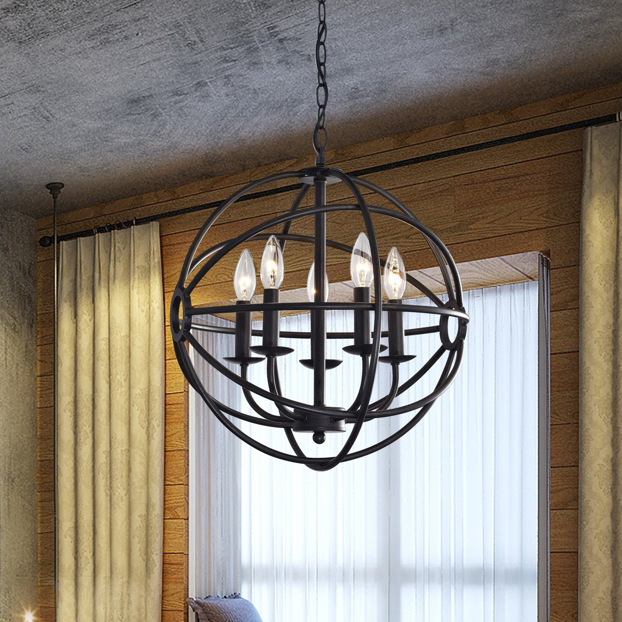 Five-Light Black Metal Strap Globe Chandelier