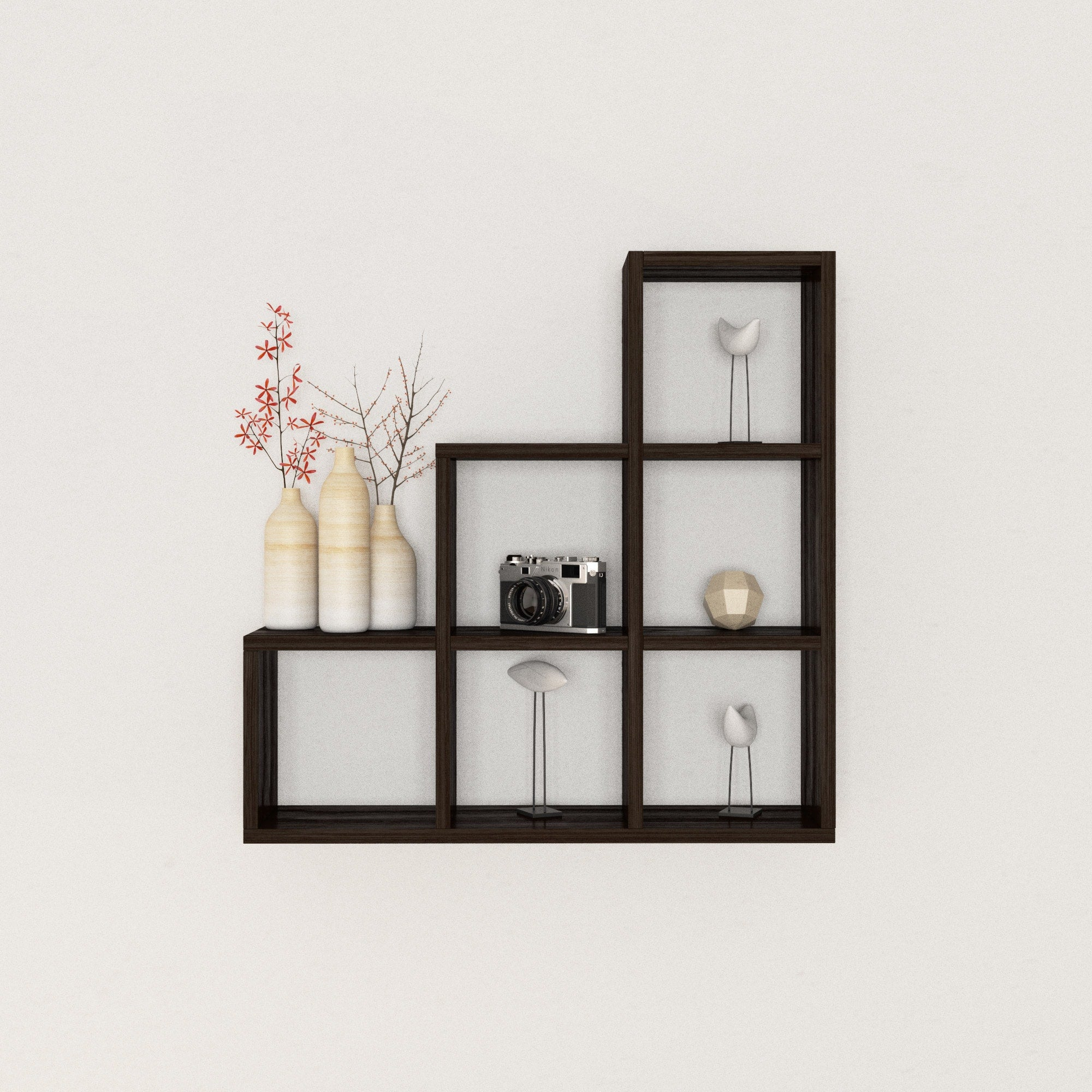 Brilliant Stepped Six Cubby Decorative Black Wall Shelf Download Free Architecture Designs Scobabritishbridgeorg