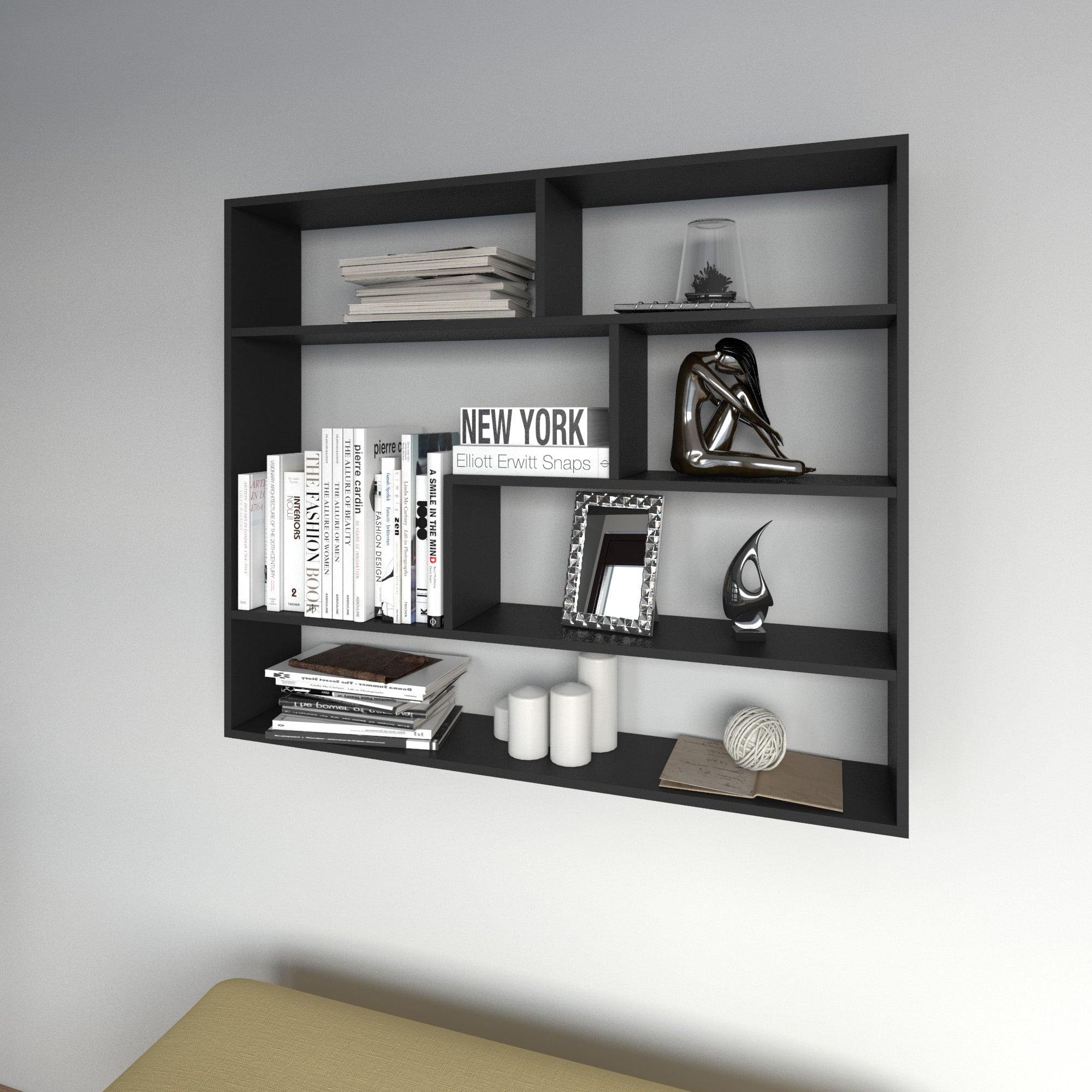 Large Rectangular Black Shelf Unit