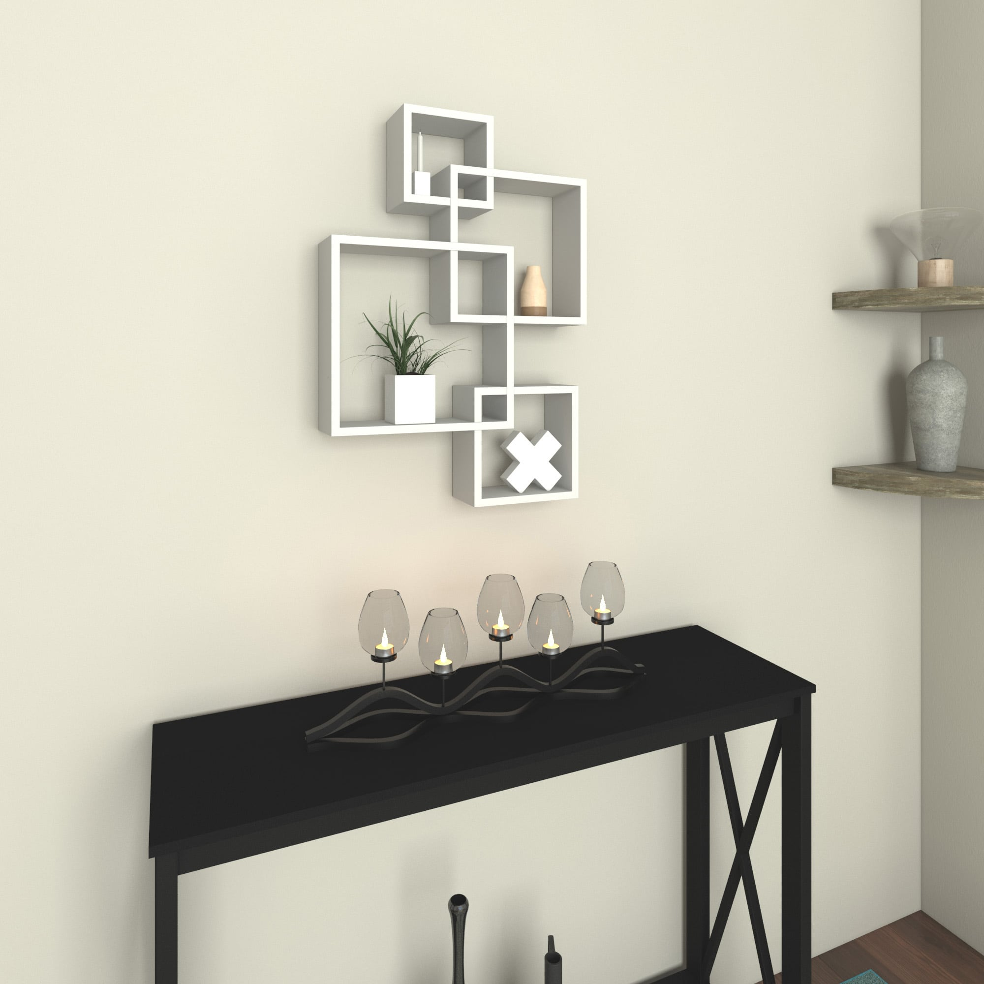 White Laminate Intersecting Cube Shelves