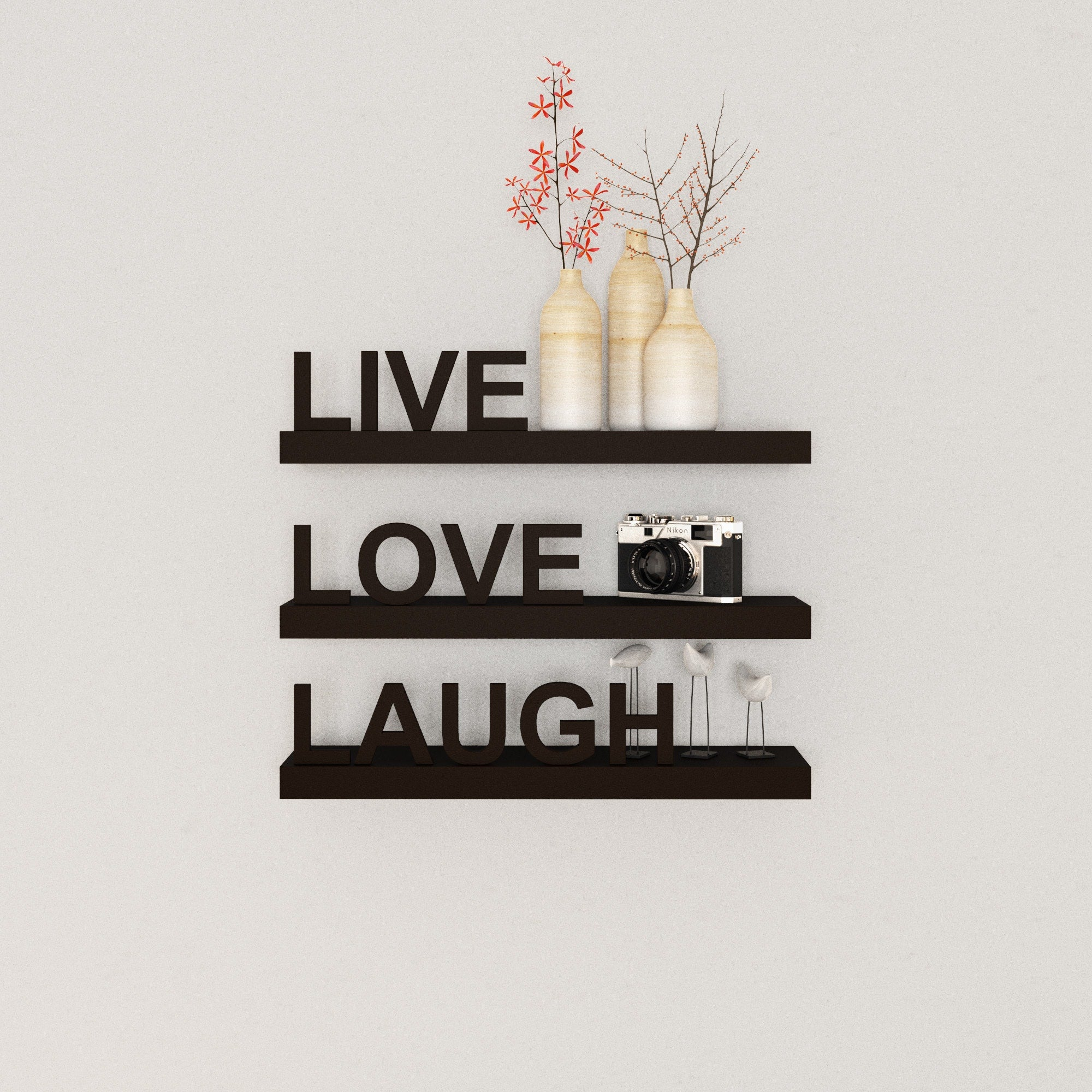 Black Laminate Inspirational Wall Shelves (Set of 3)
