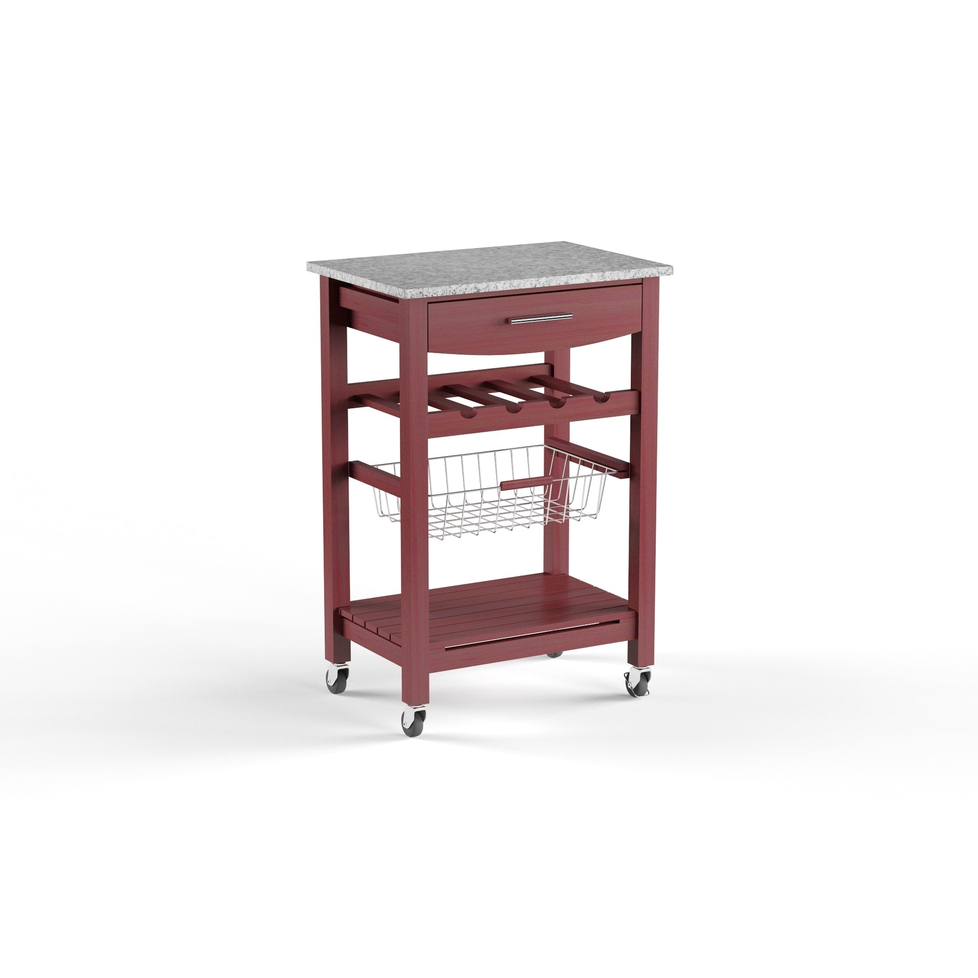 Wenge and Granite Top Mobile Kitchen Island with Wine Rack