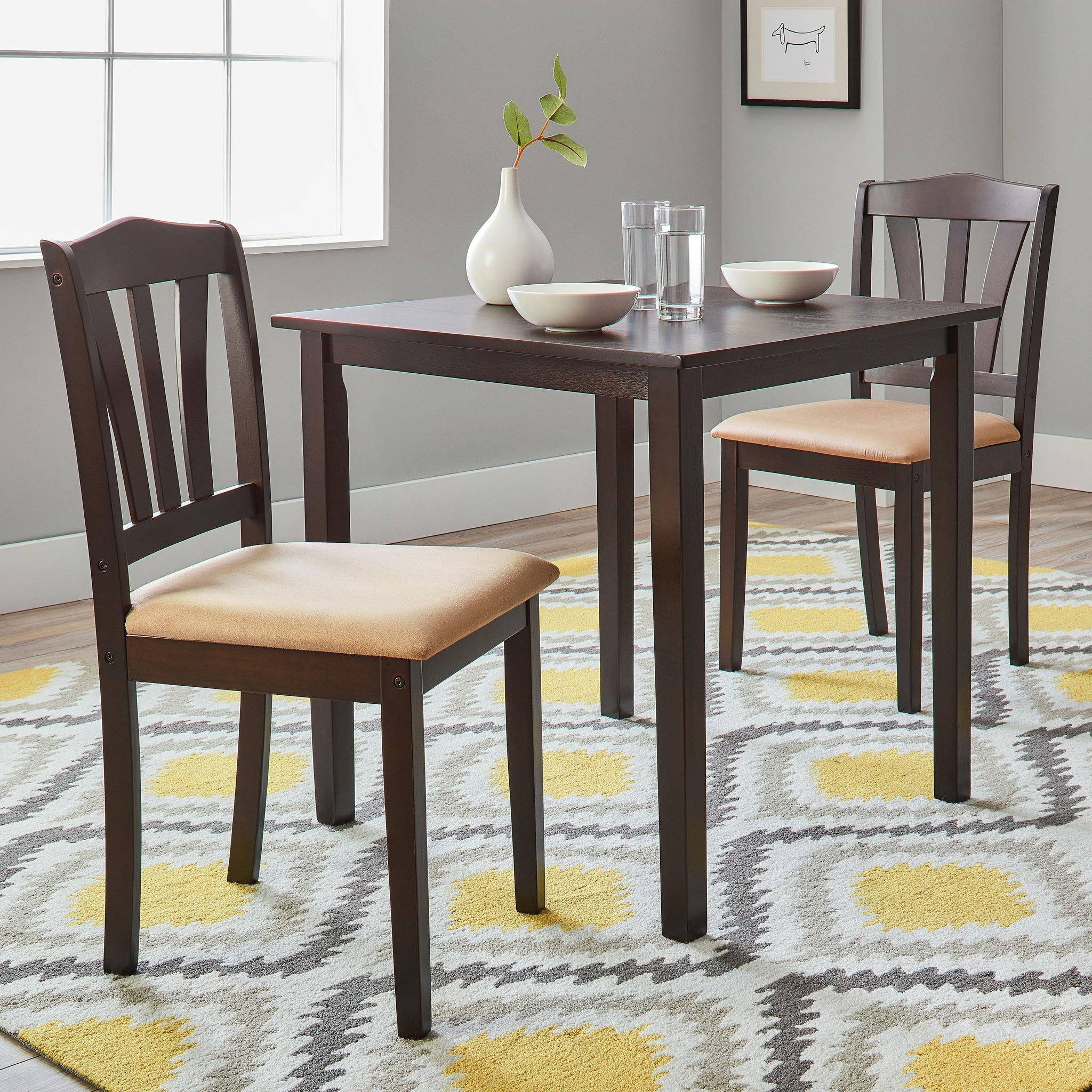 Three-Piece Dining Set with Microsuede Seats