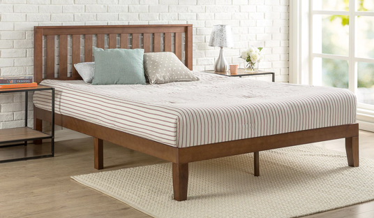 Antique Espresso Solid Wood Platform Bed with Headboard