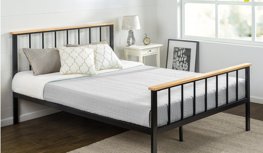 Contemporary Metal and Wood Platform Bed